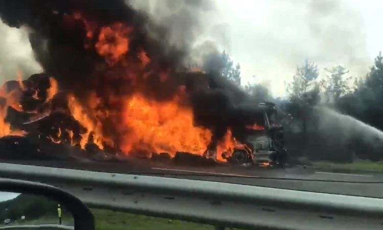 Bales burn in roadside lorry blaze on M1