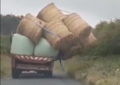 Video: Off-balance bales send trailer teetering