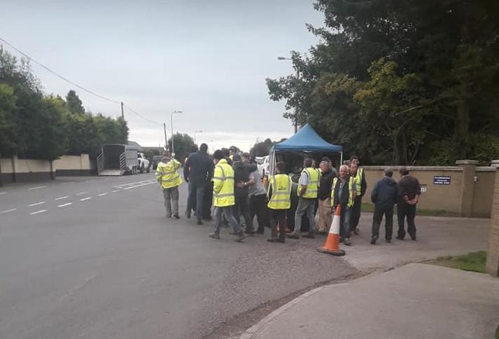 Farmer protesters gather at Liffey Meats in Cavan