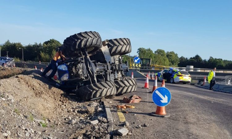 Tractor overturns on M7 motorway