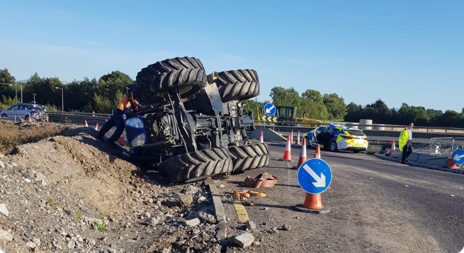 tractor overturns m7 motorway