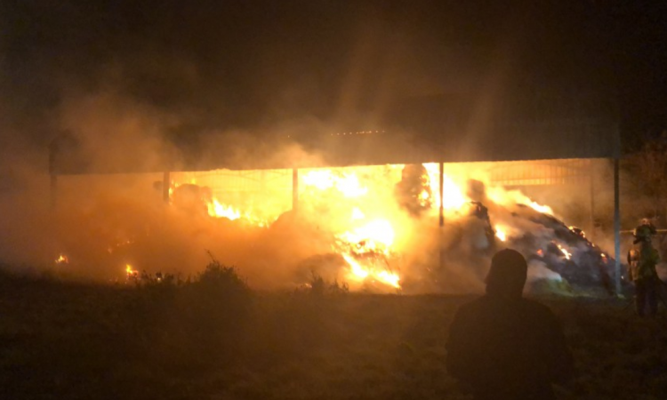Almost £2,500 worth of hay 'set alight' in barn fire