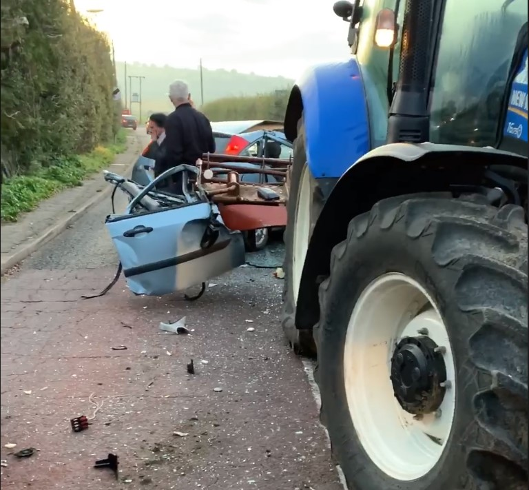 Video: Close call for driver following costly collision