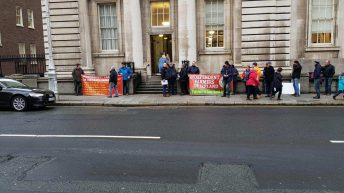 IFOI protesters call for VAT change outside department offices in Dublin
