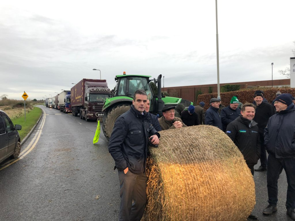 Angry farmers block Aldi distribution centre in Naas