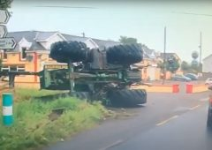 Video: Dramatic scenes as tractor overturns in Wexford