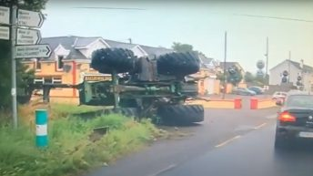 Dramatic scenes as tractor overturns in Wexford