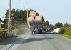 Video: Striking scenes of tumbling bales prompt Garda warning