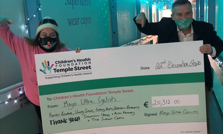 Mayo Ultra Cyclists present €81,000 to charities following fearsome physical feat