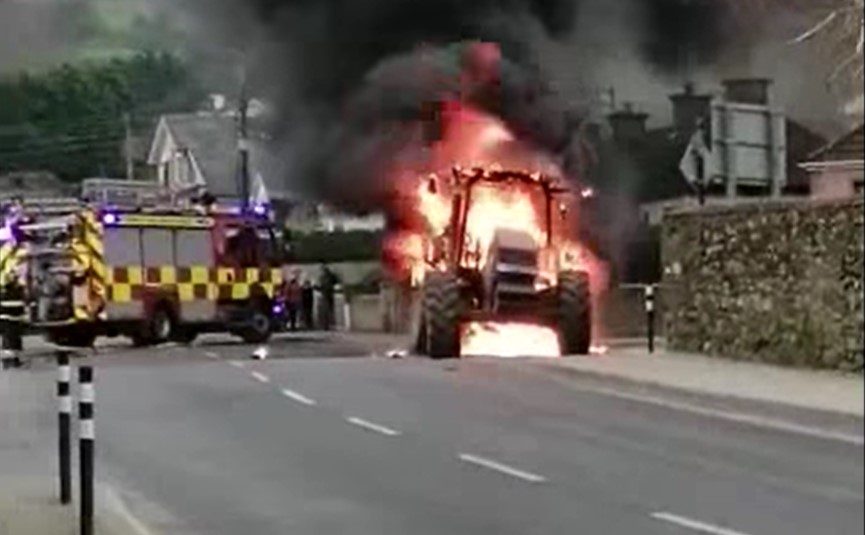Video: Firefighters called into action at explosive tractor fire
