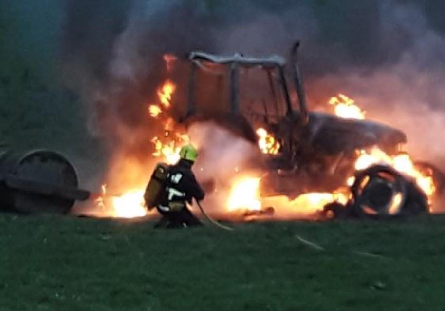 Firefighters tackle tractor blaze in Cavan
