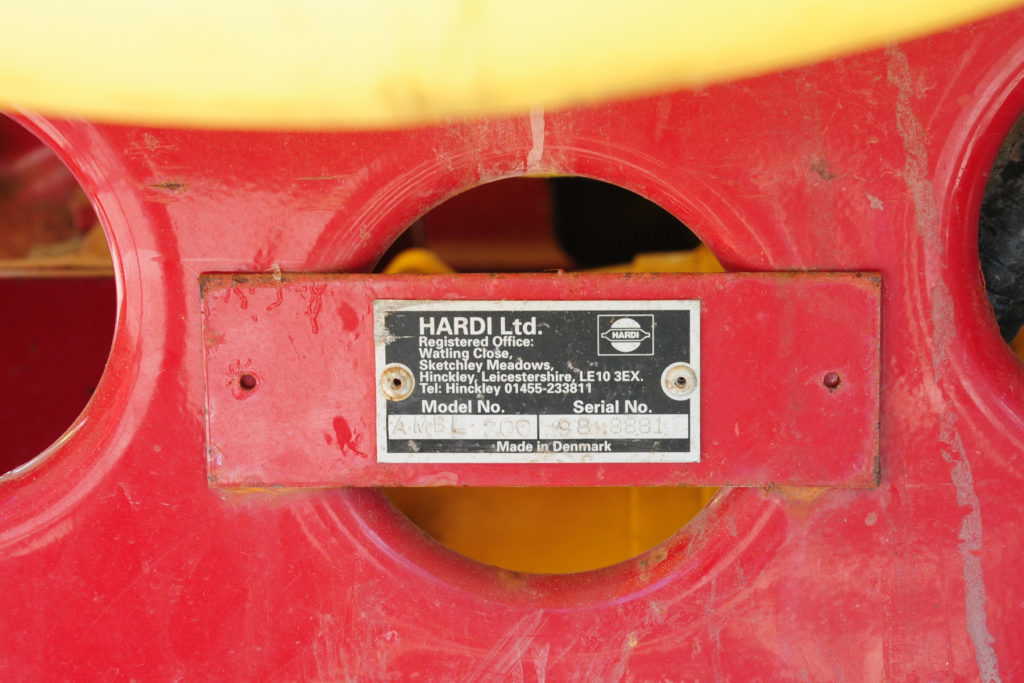 Sprayer chassis number