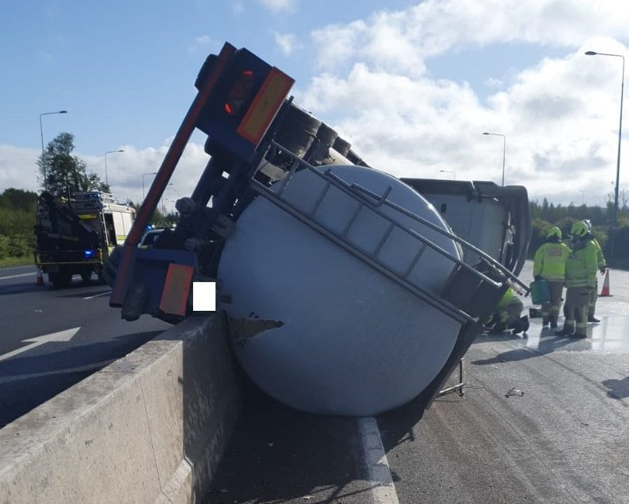 Emergency services attend incident involving milk tanker