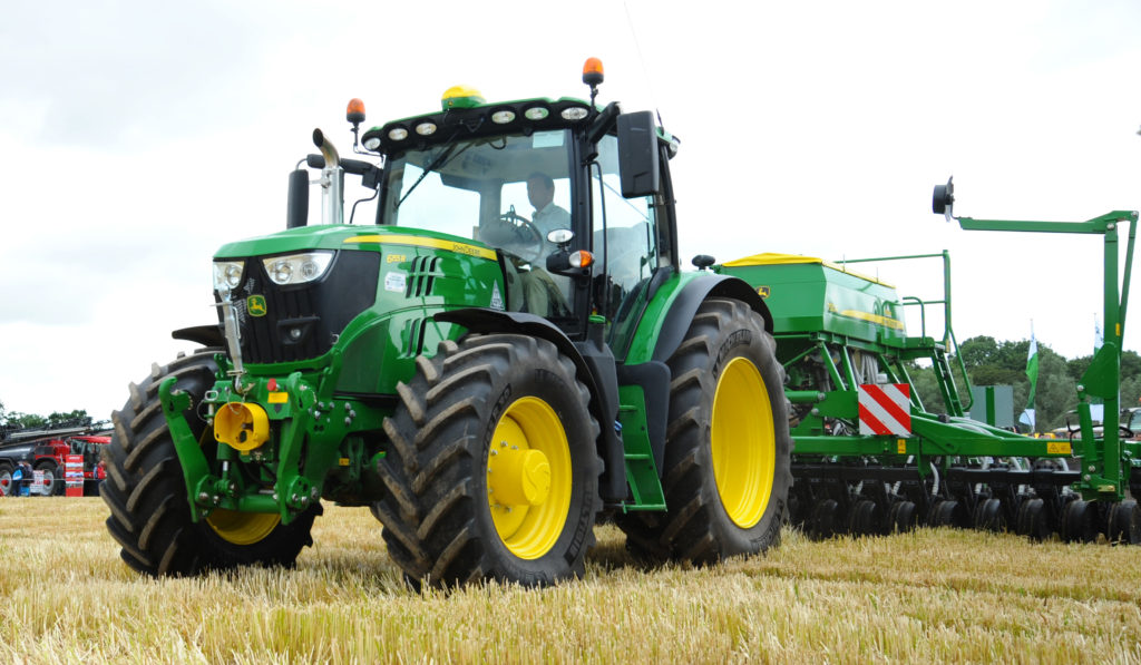John Deere with drill