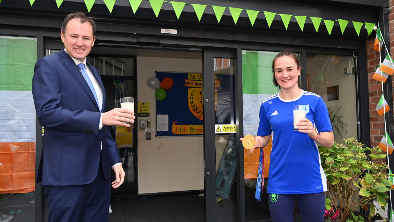 Minister launches school milk campaign with Olympic gold medallist