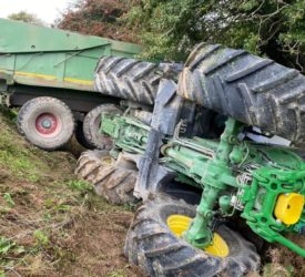 Driver hospitalised after tractor overturns